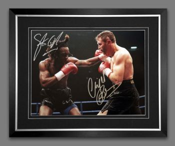 Nigel Benn And Steve Collins Duel Signed And Framed 12x16 Boxing Photograph : B