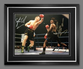 Nigel Benn And Steve Collins Duel Signed And Framed 12x16 Boxing Photograph : A