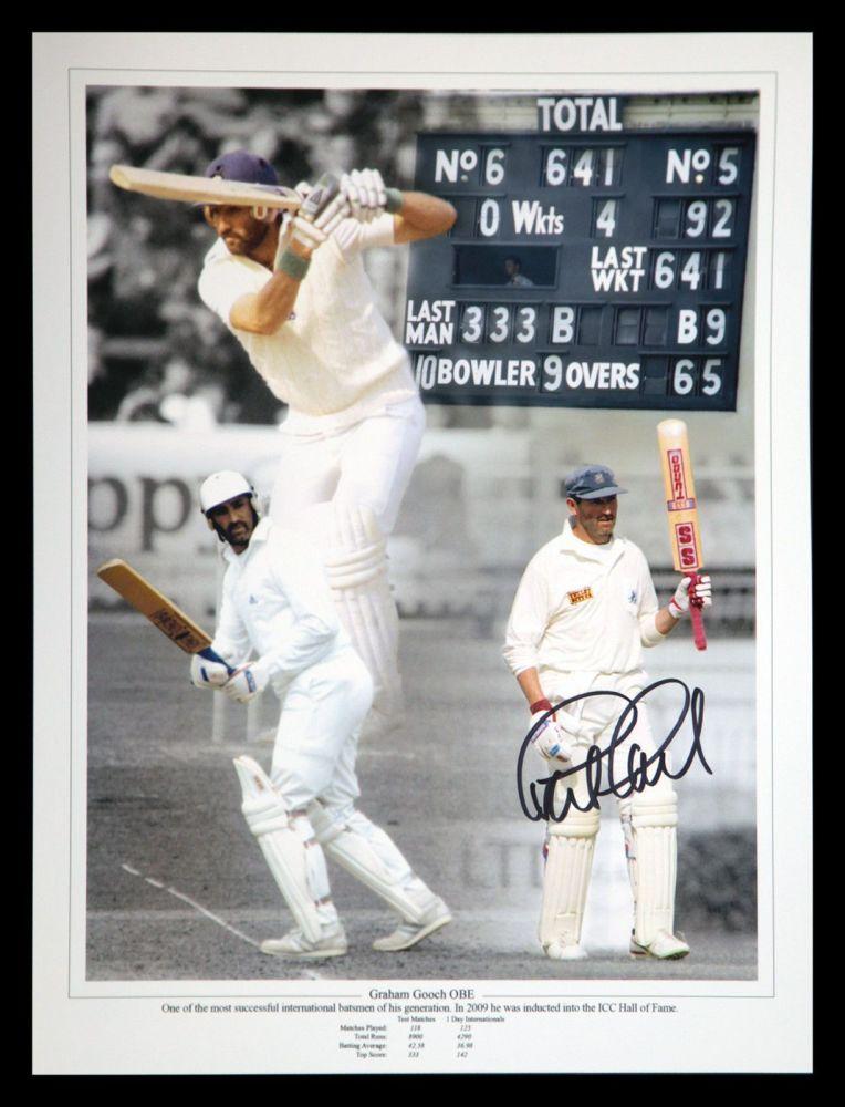 Graham Gooch Signed 12x16 Cricket Montage