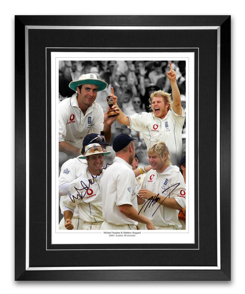 Michael Vaughn And Matthew Haggard Signed And Framed Cricket Montage