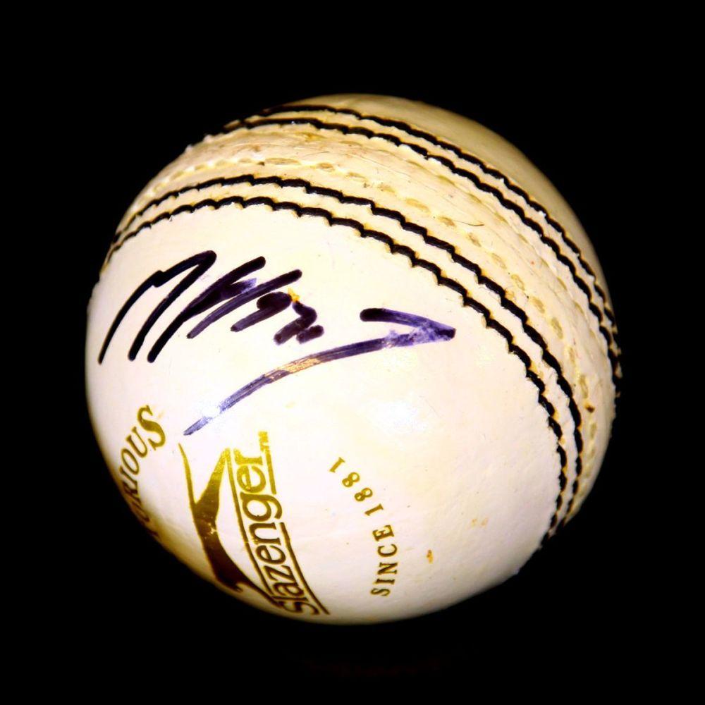Matthew Hoggard England Hand Signed White Cricket Ball