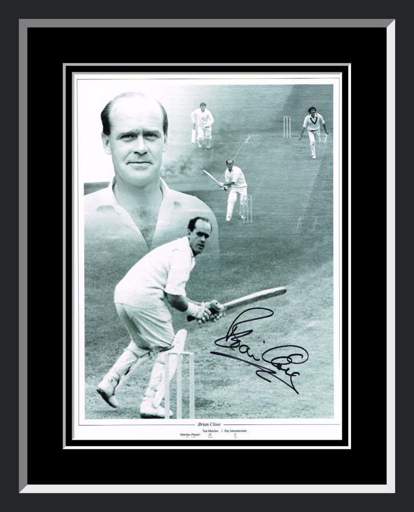 Brian Close Signed And Framed Cricket Photograph