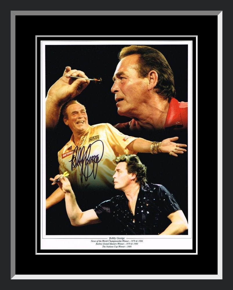 Bobby George Signed And Framed Darts Photograph B