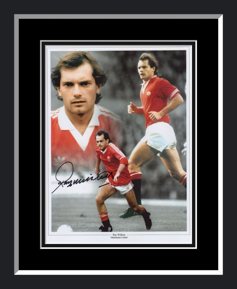 Ray Wilkins Manchester United  Signed And Framed Football Montage