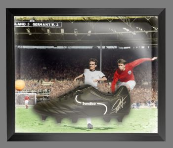 Geoff Hurst Signed Football Boot In An Acrylic Dome Frame