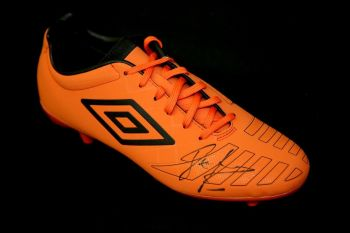 John Barnes Liverpool Hand Signed Orange Umbro Football Boot