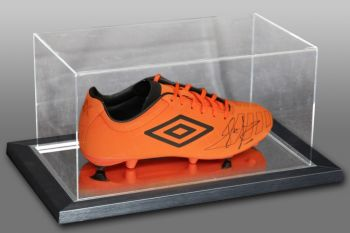 John Barnes Signed Orange Umbro Football Boot Presented In An Acrylic Case