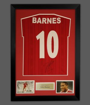 John Barnes Signed Liverpool  No 10 Football Shirt In A Frame Presentation