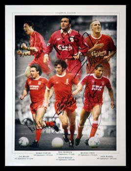 Liverpool Legends 12x16 Football Photograph signed By 6.