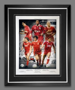 Liverpool Legends Signed And Framed Football 12x16 Photograph