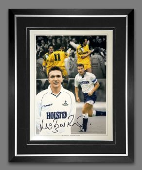 Neil Razor Ruddock Tottenham Hotspur Signed And Framed Football 12x16 Photo
