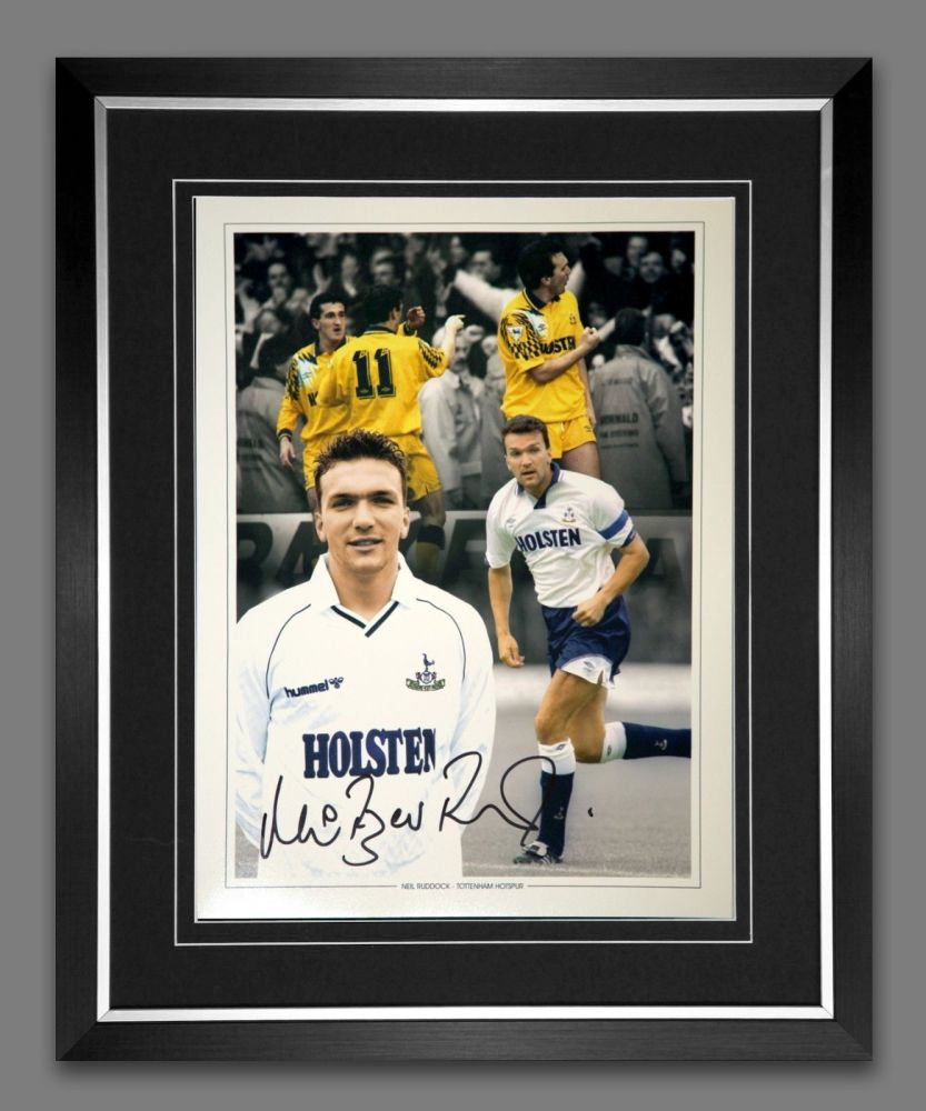 Neil Razor Ruddock Tottenham Hotspur Signed And Framed Football 12x16 Phot