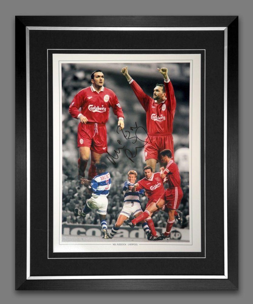 Neil Razor Ruddock Liverpool Signed And Framed Football 12x16 Photograph