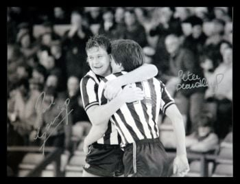 Paul Gascoigne And Peter Beardsley Dual Signed 12x16 Football Photograph
