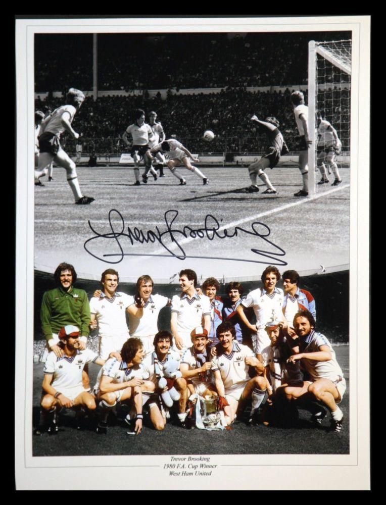 Trevor Brooking Signed West Ham United 12x16 Football Montage
