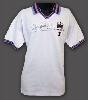 Trevor Brooking Hand Signed West ham United 1980 Replica Football Shirt