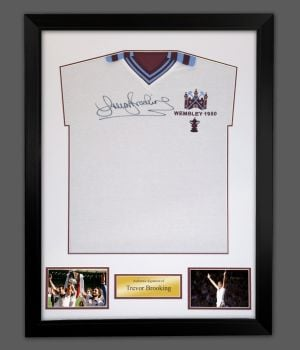 Trevor Brooking Signed West ham Football Shirt In A Framed Presentation