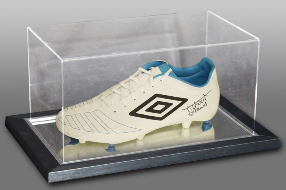 Trevor Francis Signed White Umbro Football Boot In An Acrylic Case
