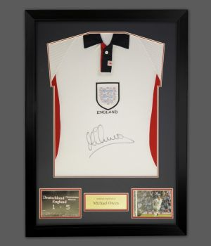 Michael Owen Front Signed England Football Shirt In A Frame Presentation