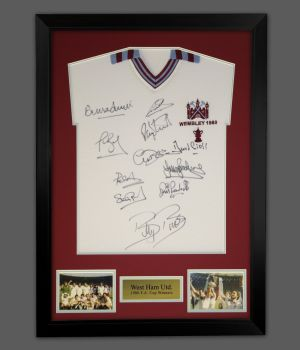 West Ham 1980 Football Shirt Signed by 11 In A Framed Presentation