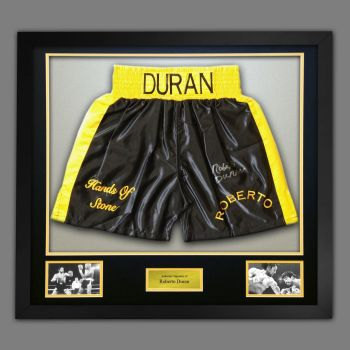 Roberto Duran Signed And Framed Yellow And Black Custom Made Boxing Trunks