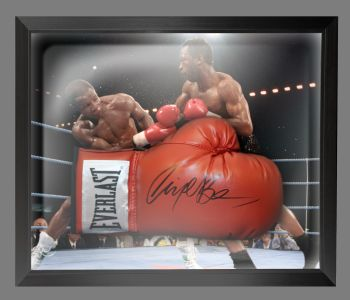 Nigel Benn Signed Red Boxing Glove Presented In A Dome Frame