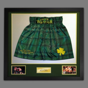 Steve Collins Signed And Framed Custom Made Boxing Trunks