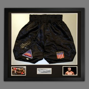 Mike Tyson Signed And Framed Custom Made Boxing Trunks : JSA Authenticated