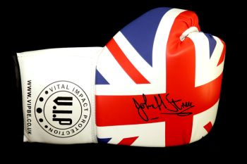 John H  Stracey Hand Signed Union Jack Vip Boxing Glove