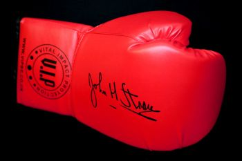 John H  Stracey Hand Signed Union Red Boxing Glove