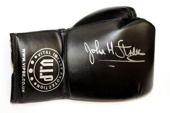 John H  Stracey Hand Signed Black VIP Boxing Glove