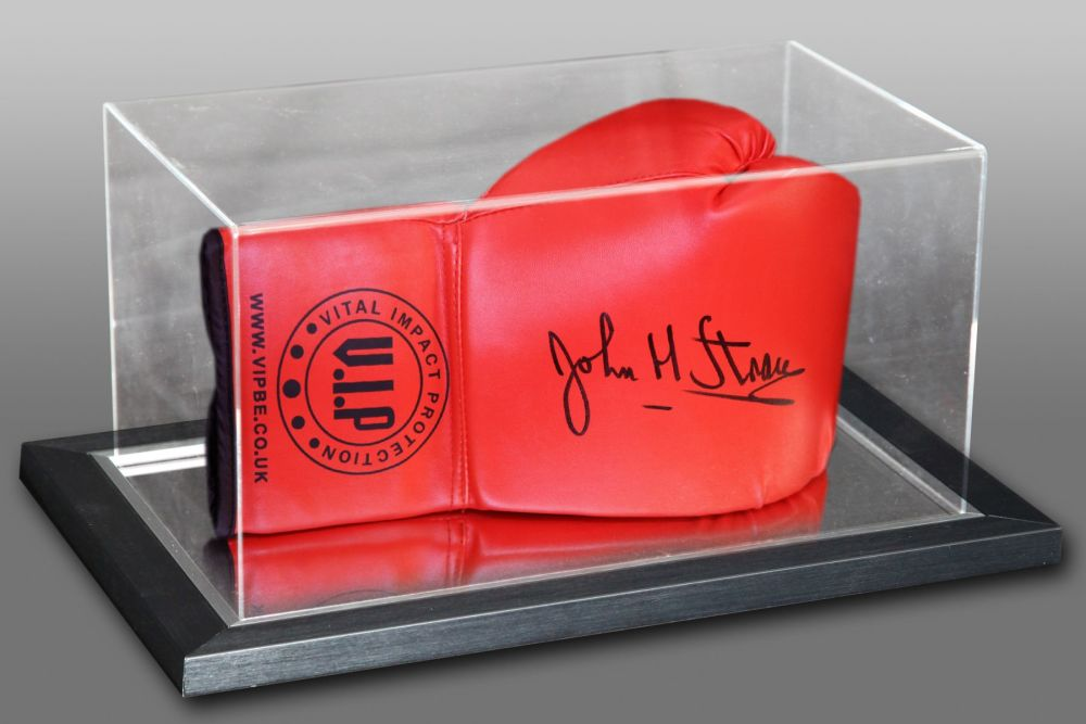 John H Stracey Hand Signed Union Red Boxing Glove Presented In An Acrylic C
