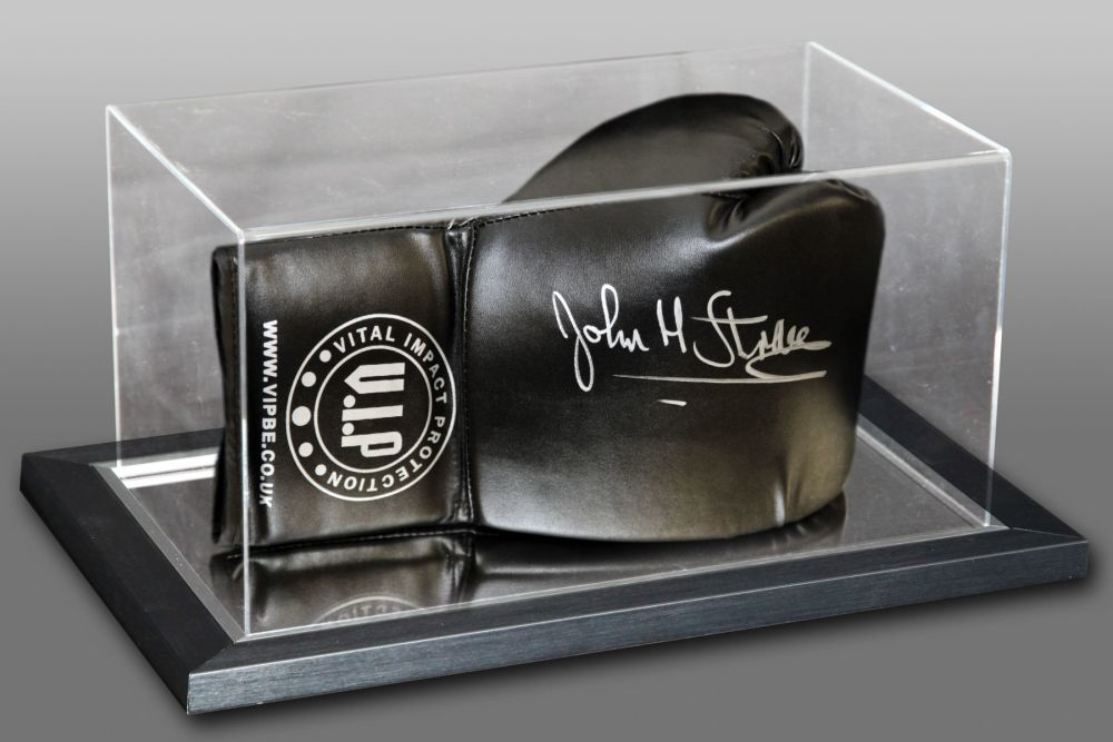 John H Stracey Hand Signed Black Boxing Glove Presented In An Acrylic Case