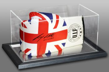 Ricky Hatton Hand Signed Union Jack Vip Boxing Glove In An Acrylic Case