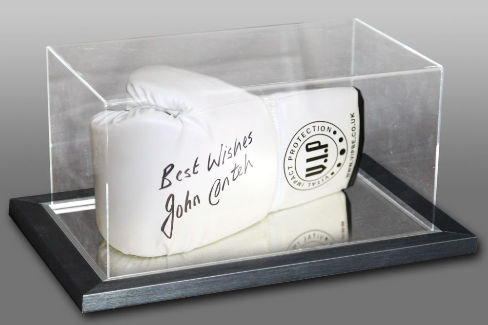 John Conteh Hand Signed White Vip Boxing Glove In An Acrylic Case