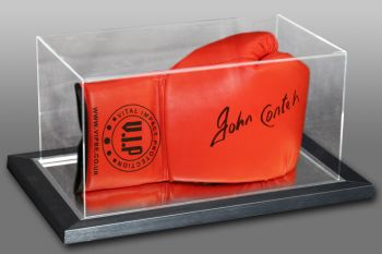 John Conteh Hand Signed Red Vip Boxing Glove In An Acrylic Case