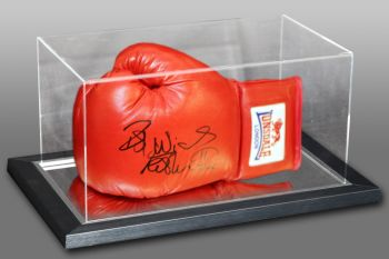 Frank Bruno Hand Signed Red Lonsdale Autograph Boxing Glove In An Acrylic Case