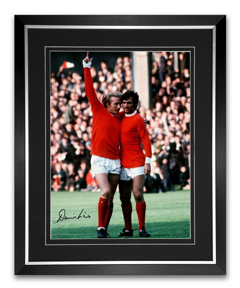 Denis Law Manchester United Signed And Framed Football Photograph