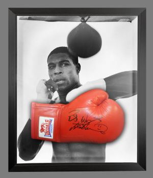 Frank Bruno Signed Red Lonsdale Autograph Boxing Glove Presented In A Dome Frame