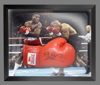 Frank Bruno Signed Red Lonsdale Autograph Boxing Glove Presented In A Dome Frame : A