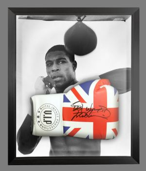 Frank Bruno Signed Union Jack Vip Boxing Glove Presented In A Dome Frame : A