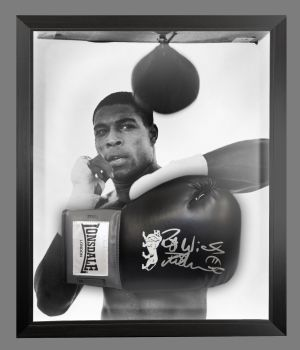 Frank Bruno Signed Black Lonsdale Boxing Glove Presented In A Dome Frame : A