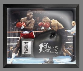 Frank Bruno Signed Black Lonsdale Boxing Glove Presented In A Dome Frame : B