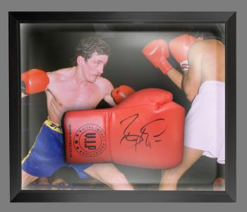 Barry McGuigan Signed Red Vip Boxing Glove Presented In A Dome Frame : A