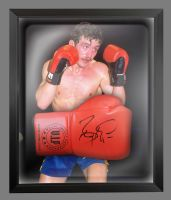 Barry McGuigan Signed Red Vip Boxing Glove Presented In A Dome Frame : B