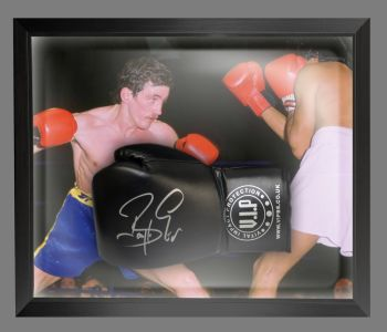Barry McGuigan Signed Black Vip Boxing Glove Presented In A Dome Frame : B
