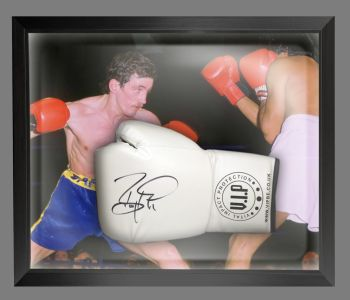Barry McGuigan Signed White Vip Boxing Glove Presented In A Dome Frame : A