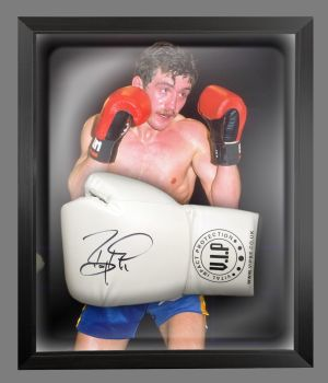 Barry McGuigan Signed White Vip Boxing Glove Presented In A Dome Frame : B