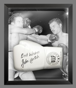 John Conteh Signed White Vip Boxing Glove Presented In A Dome Frame : A