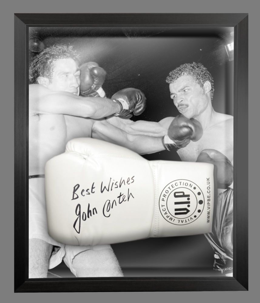 John Conte Signed White Vip Boxing Glove Presented In A Dome Frame : A